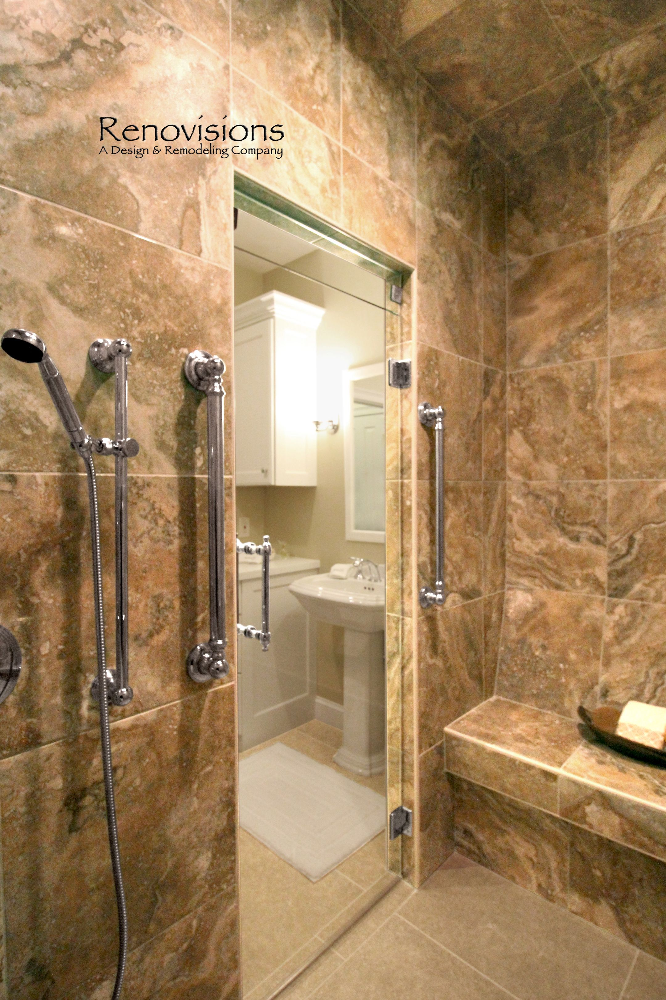Master bathroom remodel by Renovisions. Tile shower, bench seat ...