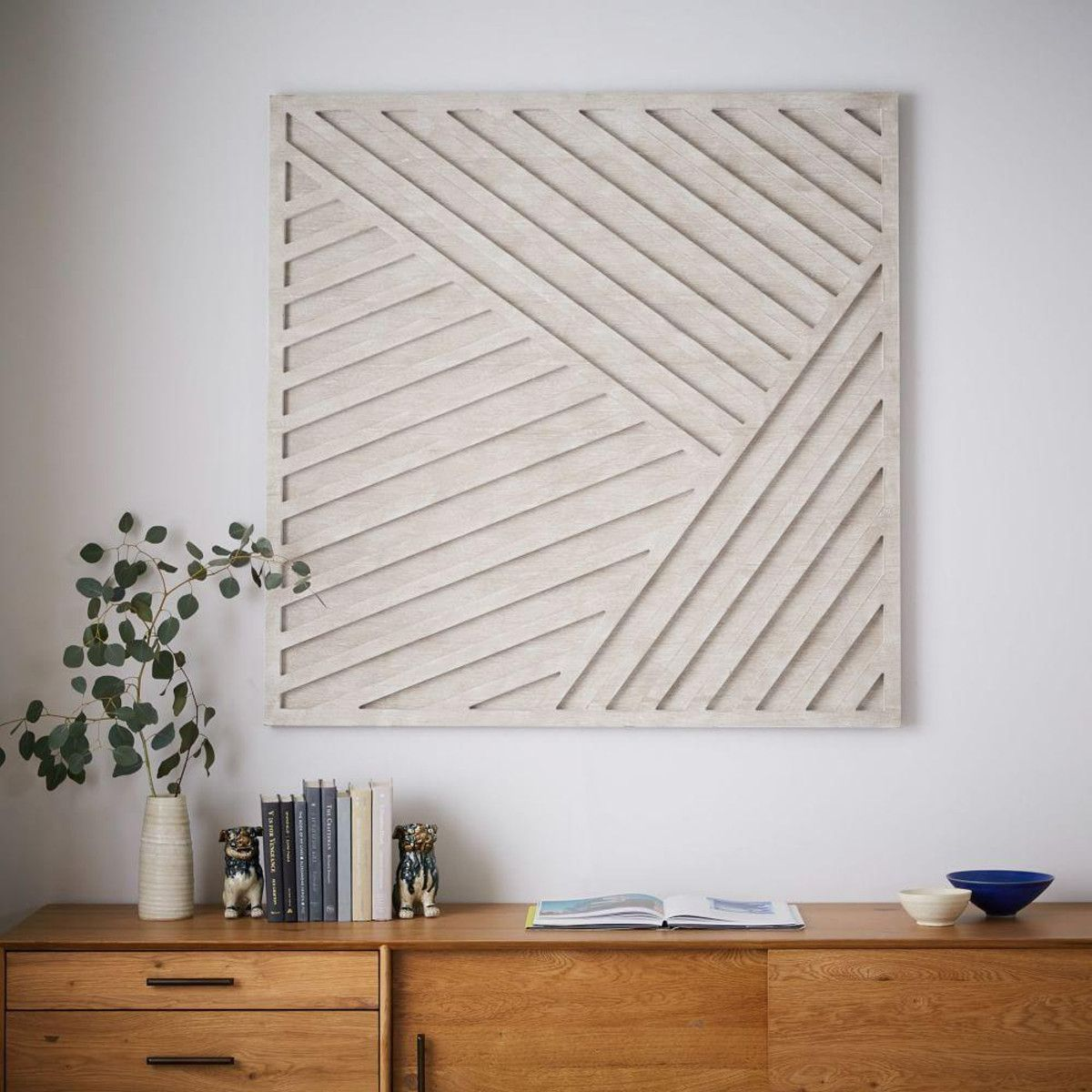 Whitewashed wood wall art overlapping lines objects prints