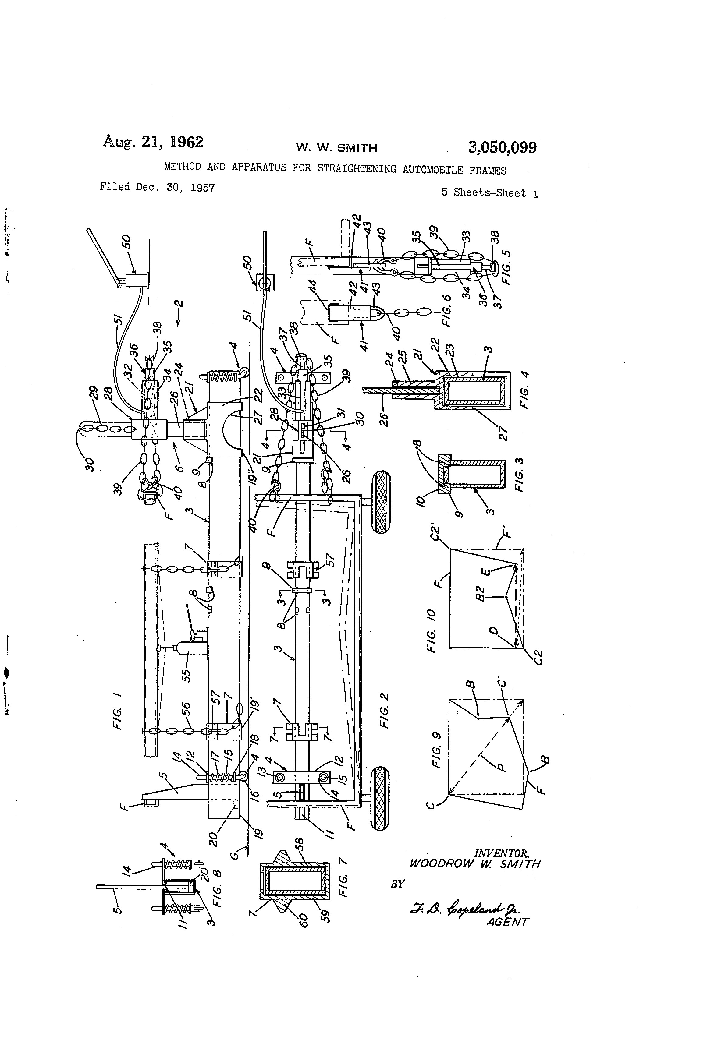 us3050099a method and apparatus for straightening automobile frames google patents [ 2320 x 3408 Pixel ]