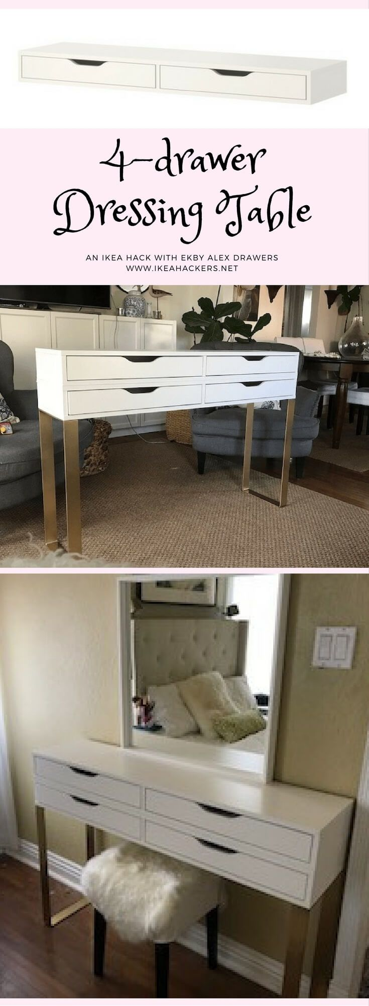 Modern Makeup Table With 4 Drawers For Storage Home Ikea
