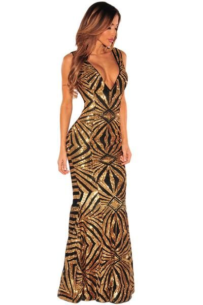 2a713ad67256 Glamorous Evening Dresses Black Gold Sequins Gown in 2019 ...