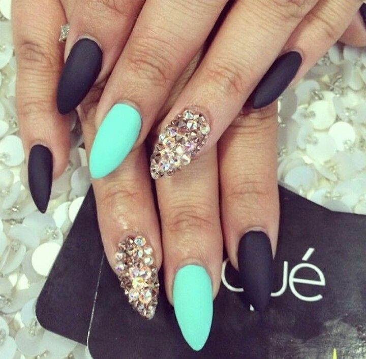 Awesome | Fashion | Mint nails, Matte Nails, Pointy nails