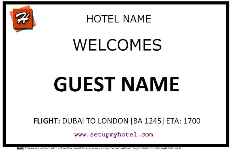 Placard  Paging Board  Airport Welcome Card  Sample Hotel Guest
