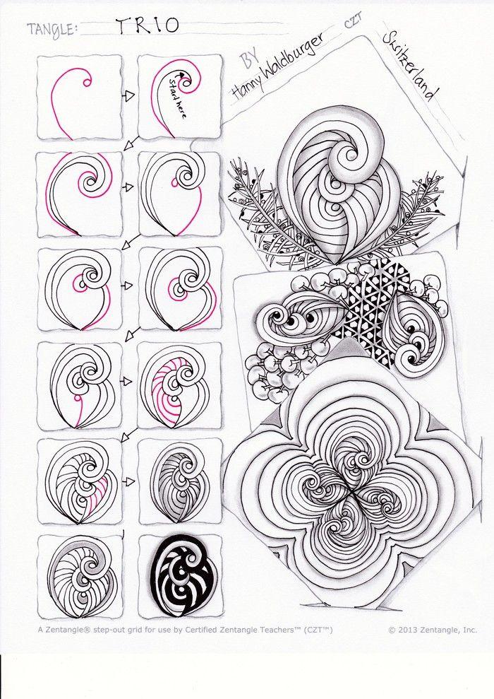 Zentangle Pattern Trio By Zenjoy мехенди Pinterest Zentangle