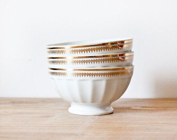 3 nostalgic vintage french limoges mini bowl white and gold caf au lait bowl shabby chic. Black Bedroom Furniture Sets. Home Design Ideas