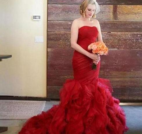 Dark Red Mermaid Wedding Dresses Strapless Sleeveless Ruched Top ...