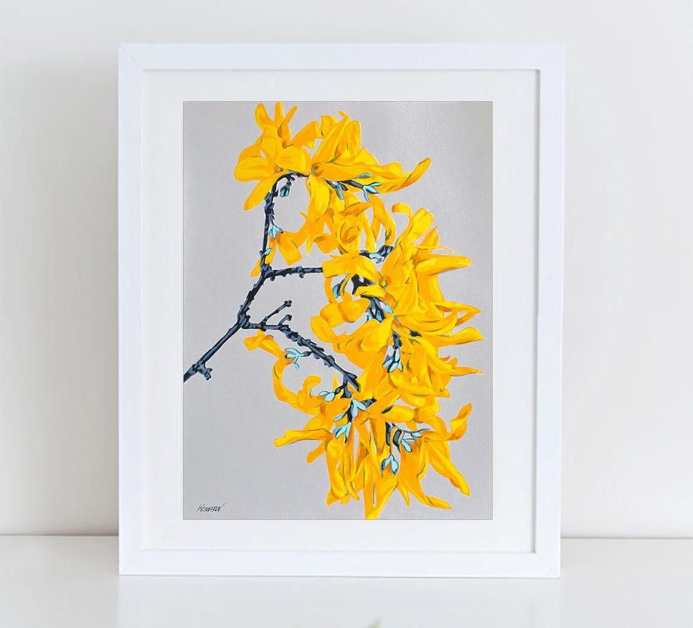 Forsythia flowers art print - floral print - botanical artwork ...