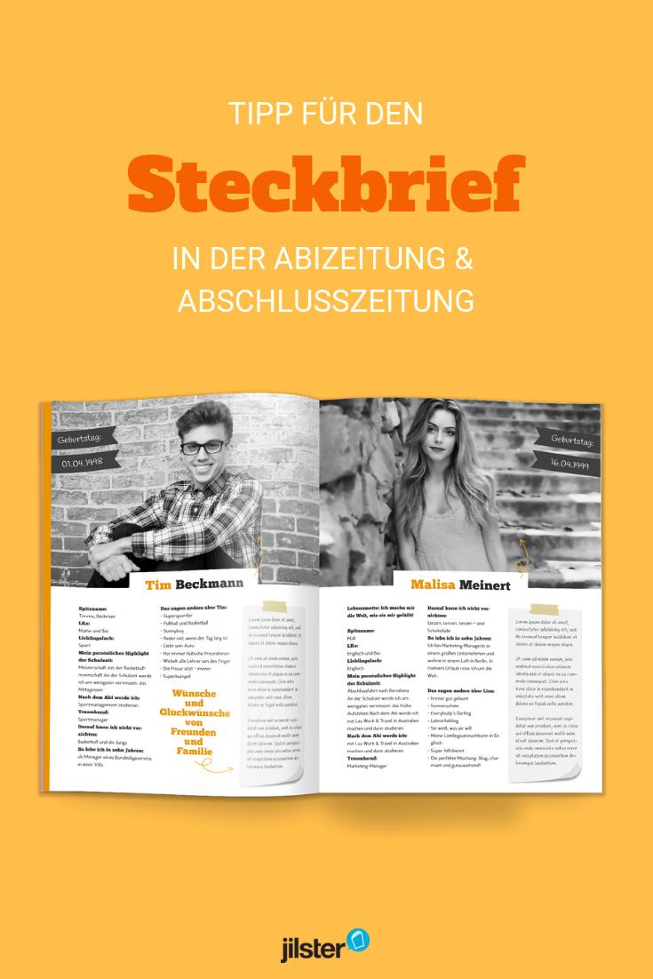 Abizeitung Steckbriefe Gestalten Jilster 12