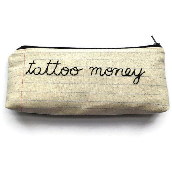 Montclair Made Tattoo Money Zipper Pouch (€32) ❤ liked on Polyvore featuring bags, zipper bag, zipper pouch, zipper pouch bag, zip bags and embroidered bags