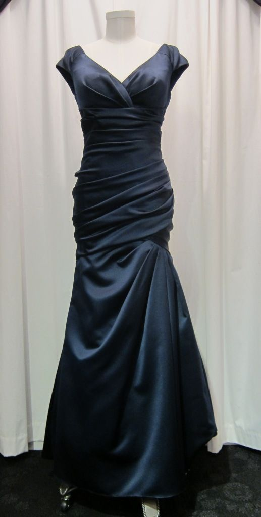 #Watters Mother of the Bride v-neck ruched evening gown in navy satin. Great for a petite girl. $170 at #LeDressBoutique