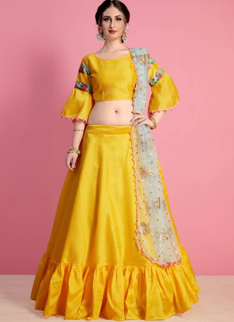 390ed934d4 Yellow art silk plain lehenga with dupatta in 2019 | Yellow Lehengas ...