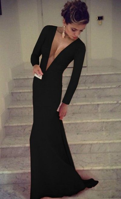 3499 Long Sleeve Deep V Neck Maxi Dress Black In 2019