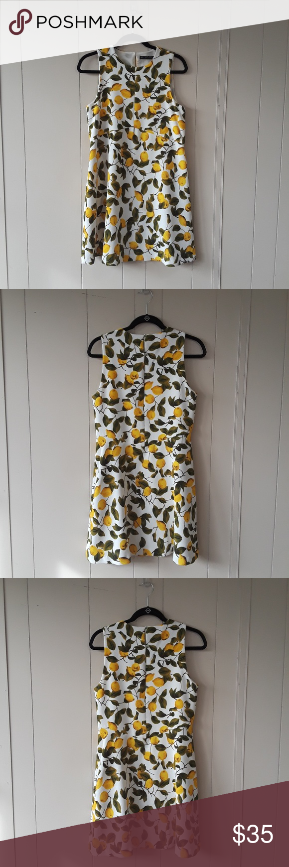 34683ef7 Zara Basics lemon dress with green button up back Very fun lemon print dress  with dainty