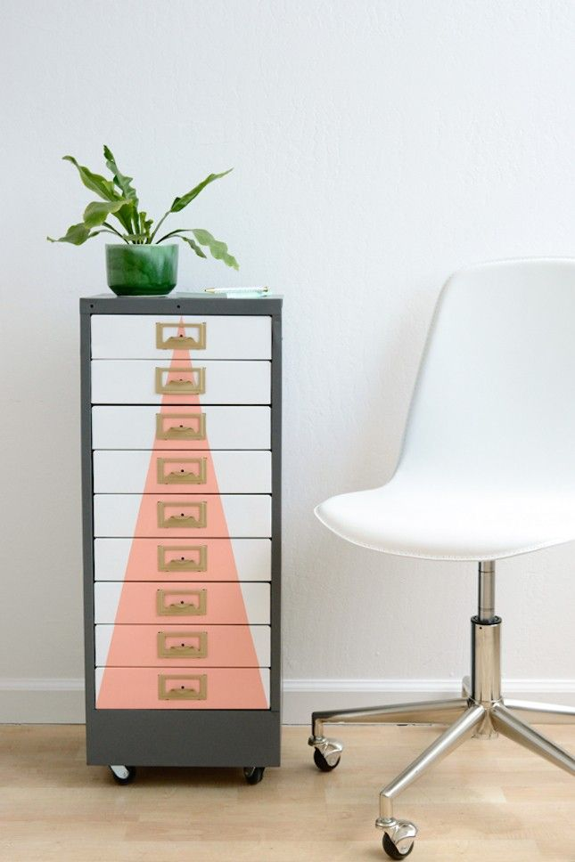Save this home decor DIY to upgrade a metal cabinet with pastel pops of color.
