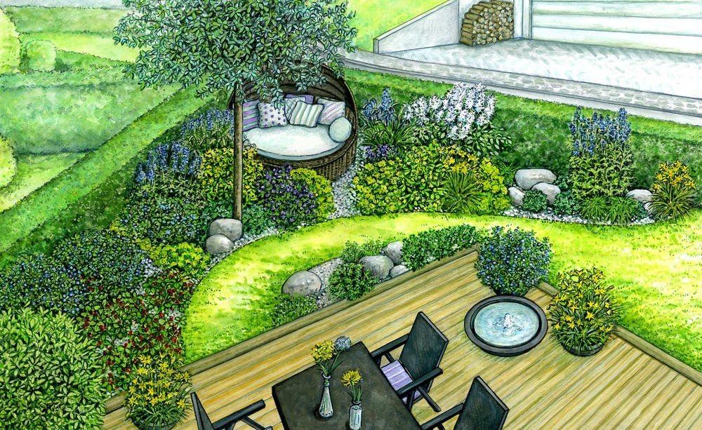 1 Garten 2 Ideen Harmonischer Ubergang Von Der Terrasse Zum Garten Garten Landschaftsbau Gartengestaltung Garten