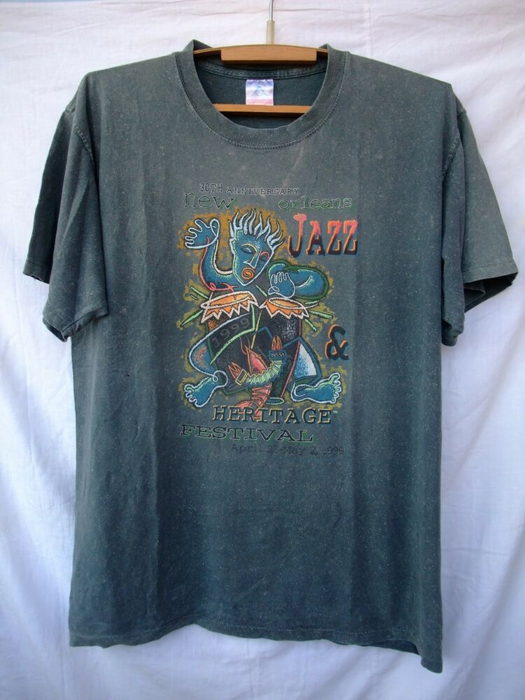 Vintage T Shirt 1999 New Orleans Jazz Heritage Ftstival Aaa Graphictee Vintage Tshirts Shirts Vintage Shirts