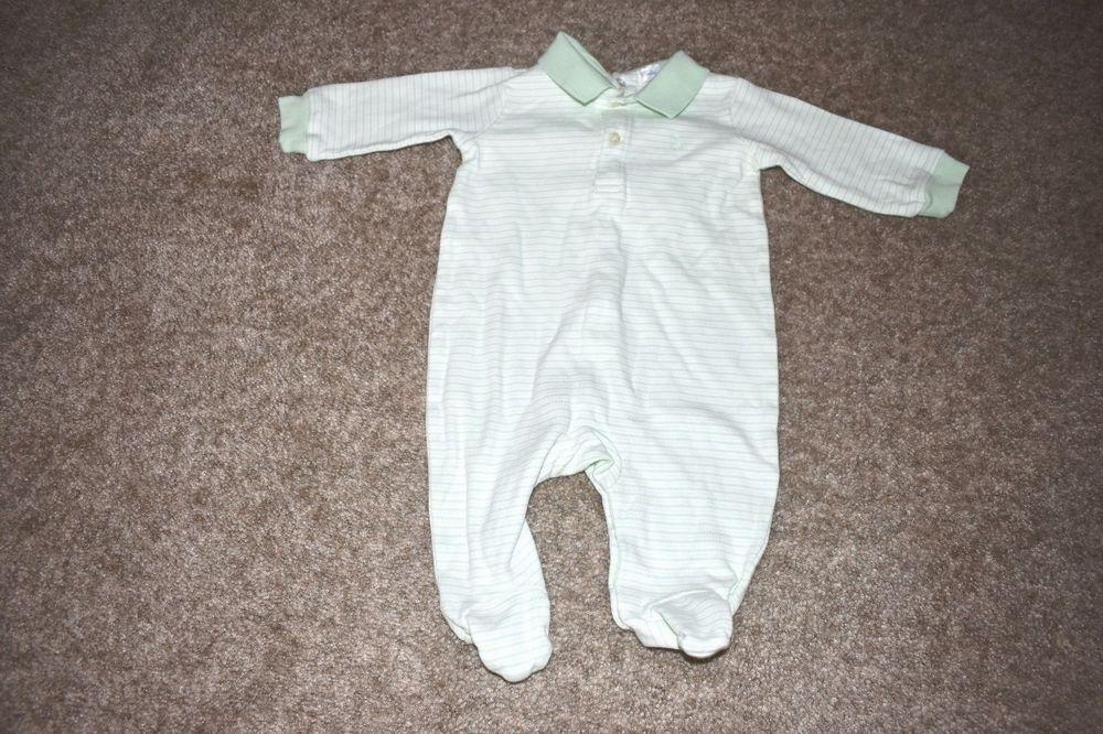 Ralph Lauren Infant Boys Footed Sleeper Green White Striped Pony Logo 6 Months #RalphLauren #OnePiece