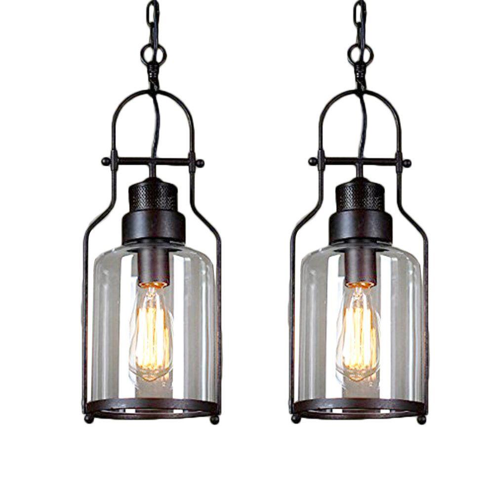2 pcs metal glass industrial pendant light mklot ecopower minimalism retro vintage 5 91 wide wrought iron ceiling lighting simple lamp fixture chandelier