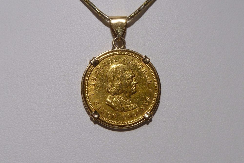 1900 Gold Coin Costa Rica 5 Colones Christopher Columbus Bezel Pendant Bezel Pendant Gold Coins Coins