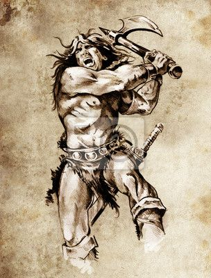 Szkic Tatuaz Sztuki Walki Wojownik Z Wielkim Toporem Jpg 304 400 Fantasy Book Covers Solomon Kane Modern Fantasy