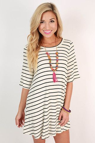 633cebb98223 Paris Stripe Shift Dress in Ivory