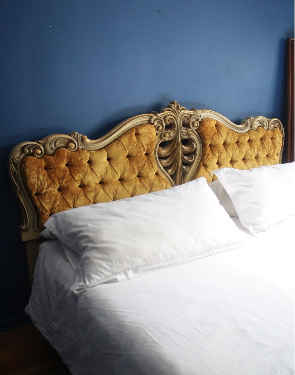 King Size 1920s Gold Frame Gold Velvet Tufted Headboard With