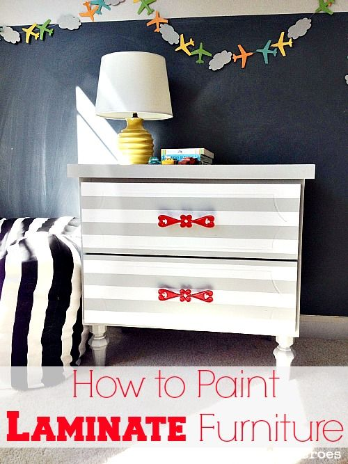 laminate furniture makeover. How To Paint Laminate Furniture - Striped Nightstand Makeover: Those Old Pieces Of From The Thrift Store Sure Looks Different With A Little Diy Makeover T