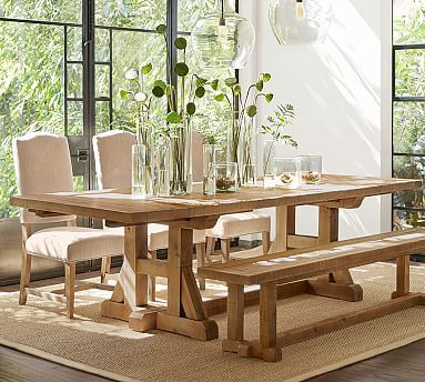 Stafford Reclaimed Pine Extending Dining Table Potterybarn