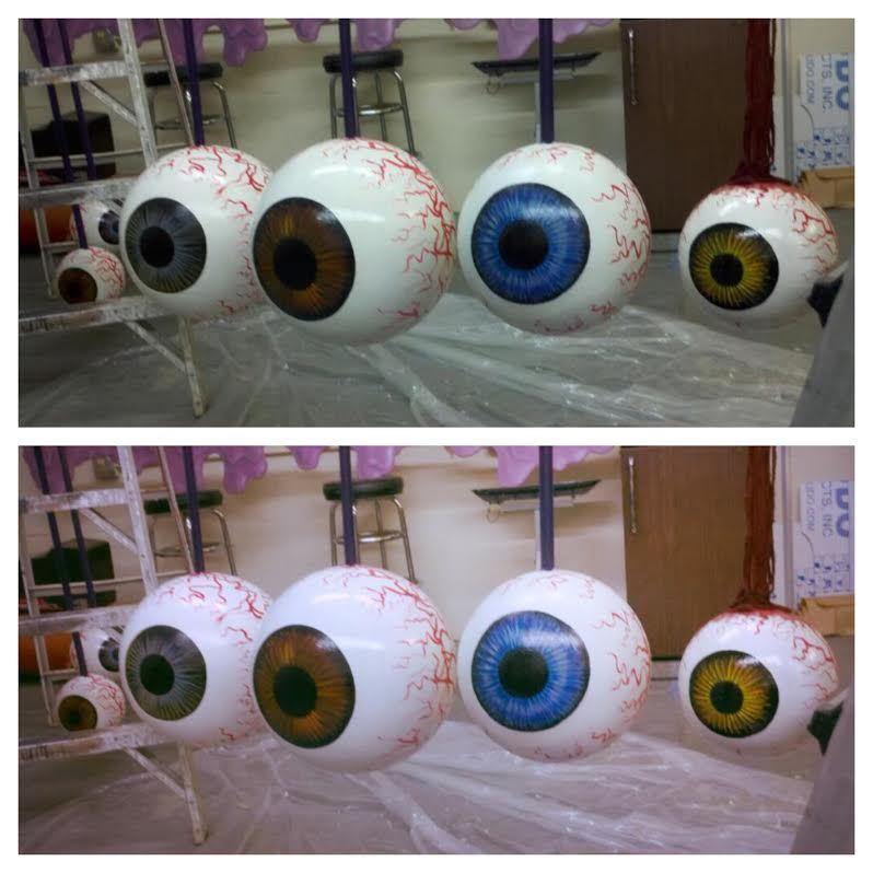 Fiberglass foam eye balls props for a store front decor by