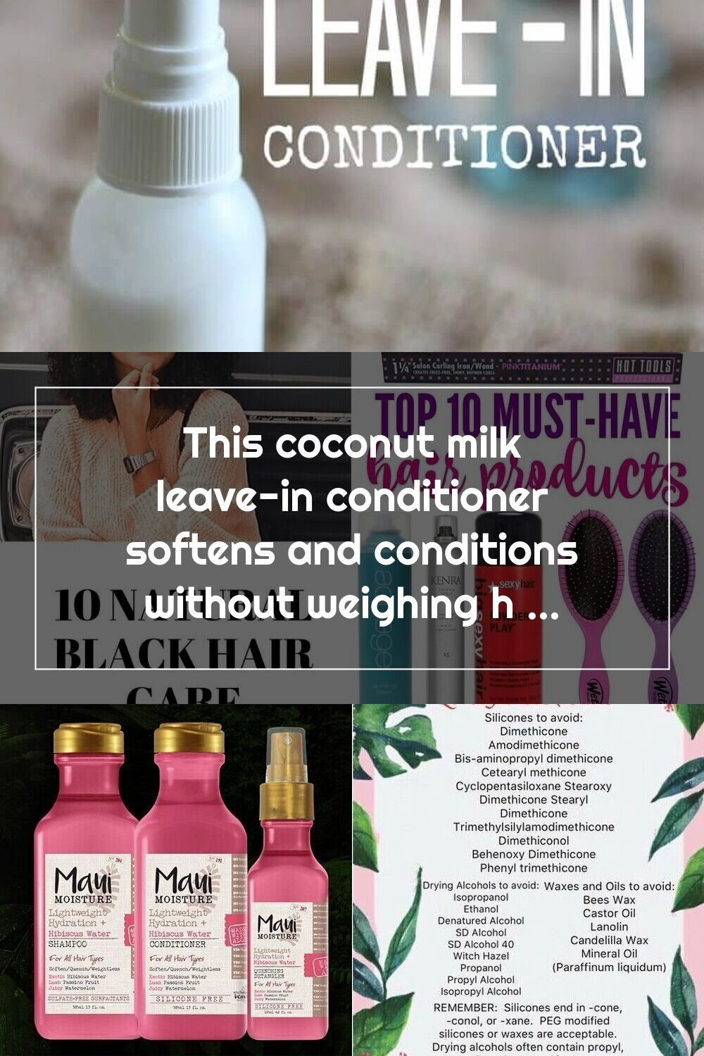 This coconut milk leavein conditioner softens and