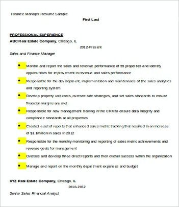 Finance Manager resume template Sample , Finance Manager Resume - examples of manager resumes