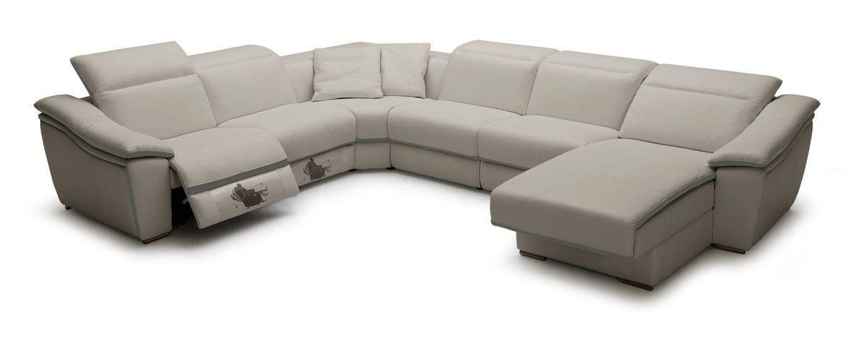 Jasper Light Grey Full Leather Sectional Sofa Recliner Modern