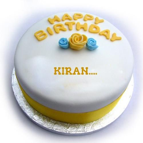 Yellow And Blue Theme Birthday Cake With Your Name Kiran