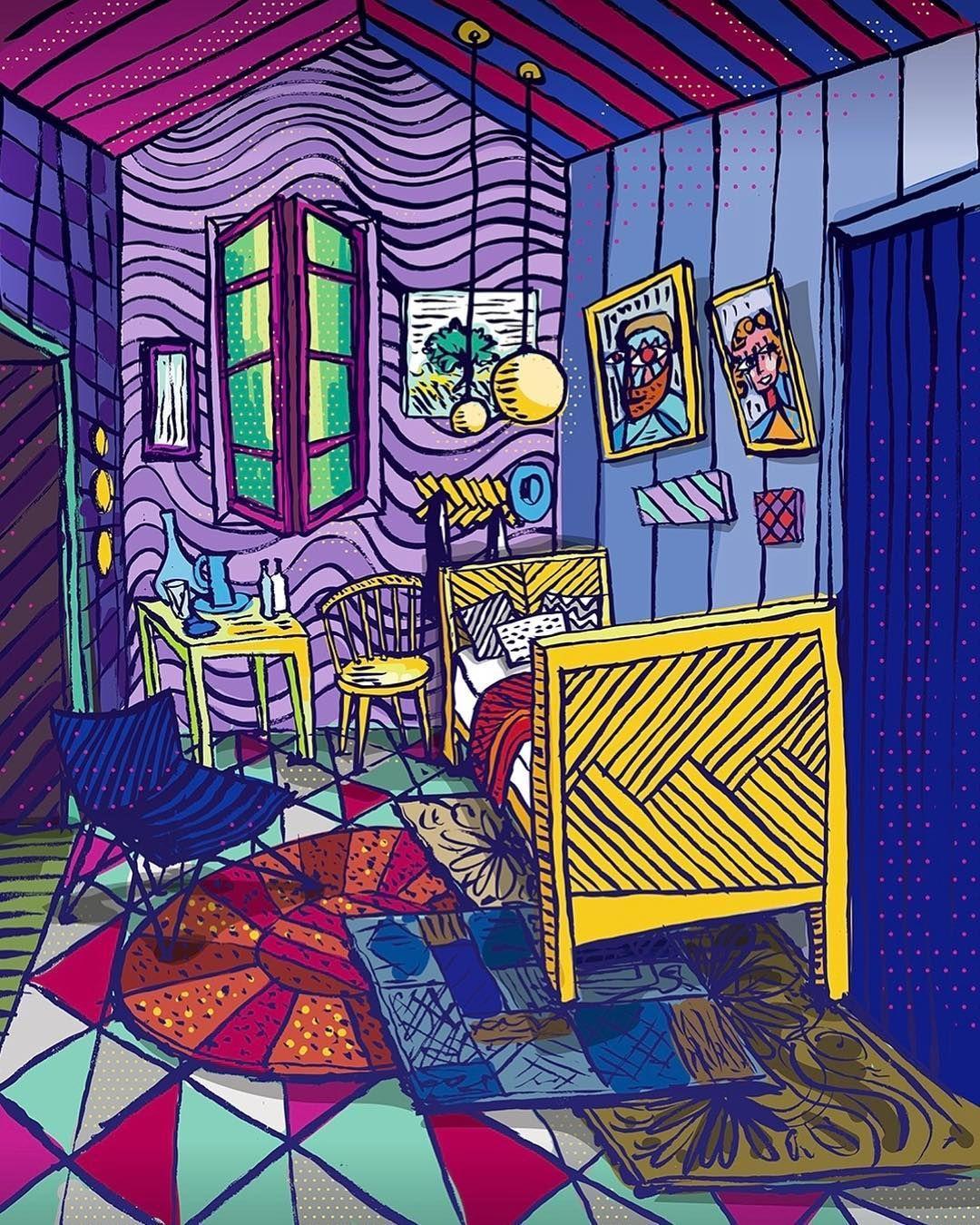 La Habitación De Van Gogh Al Estilo Limón Vangogh Claudiolimon Van Gogh Arte Van Gogh Fotos De Luna Llena