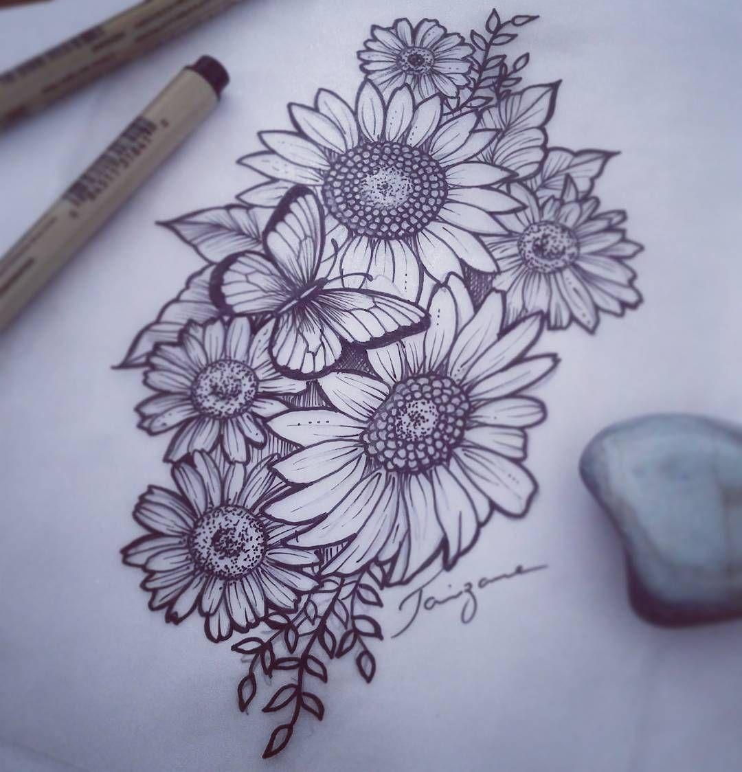 "Taizane - Tattoo Vibracional on Instagram: ""Tattoo floral... Girassóis com margaridas! 💗💗💗 #floraltattoo #girassoltattoo #tattoodesign #taizane"""