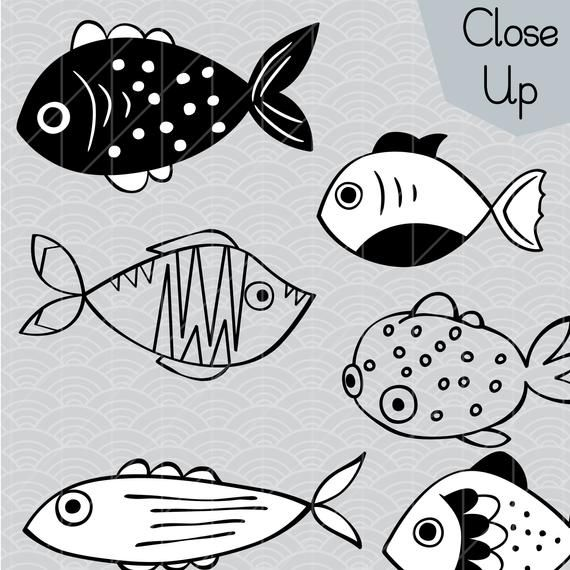 Hand Drawn Fish Clip Art Tropical Fish Outline Illustration Bundle Small Puffer Fish Vector Graphics Png Svg Dxf Eps Pdf Drawn Fish Fish Outline Fish Drawing Outline