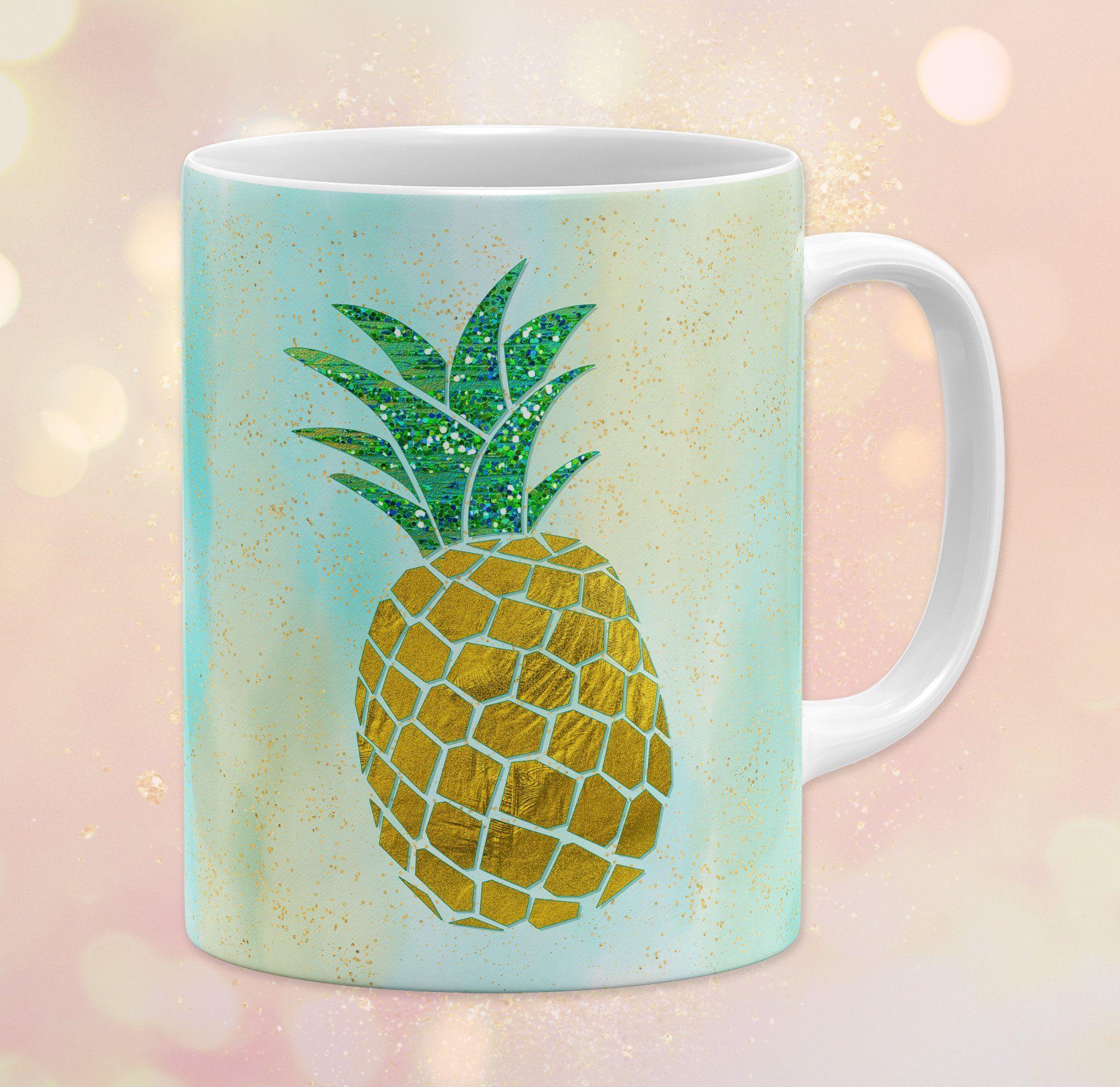 Pineapple 11 Oz Ceramic Coffee Mug Watercolor Tropical Sparkle