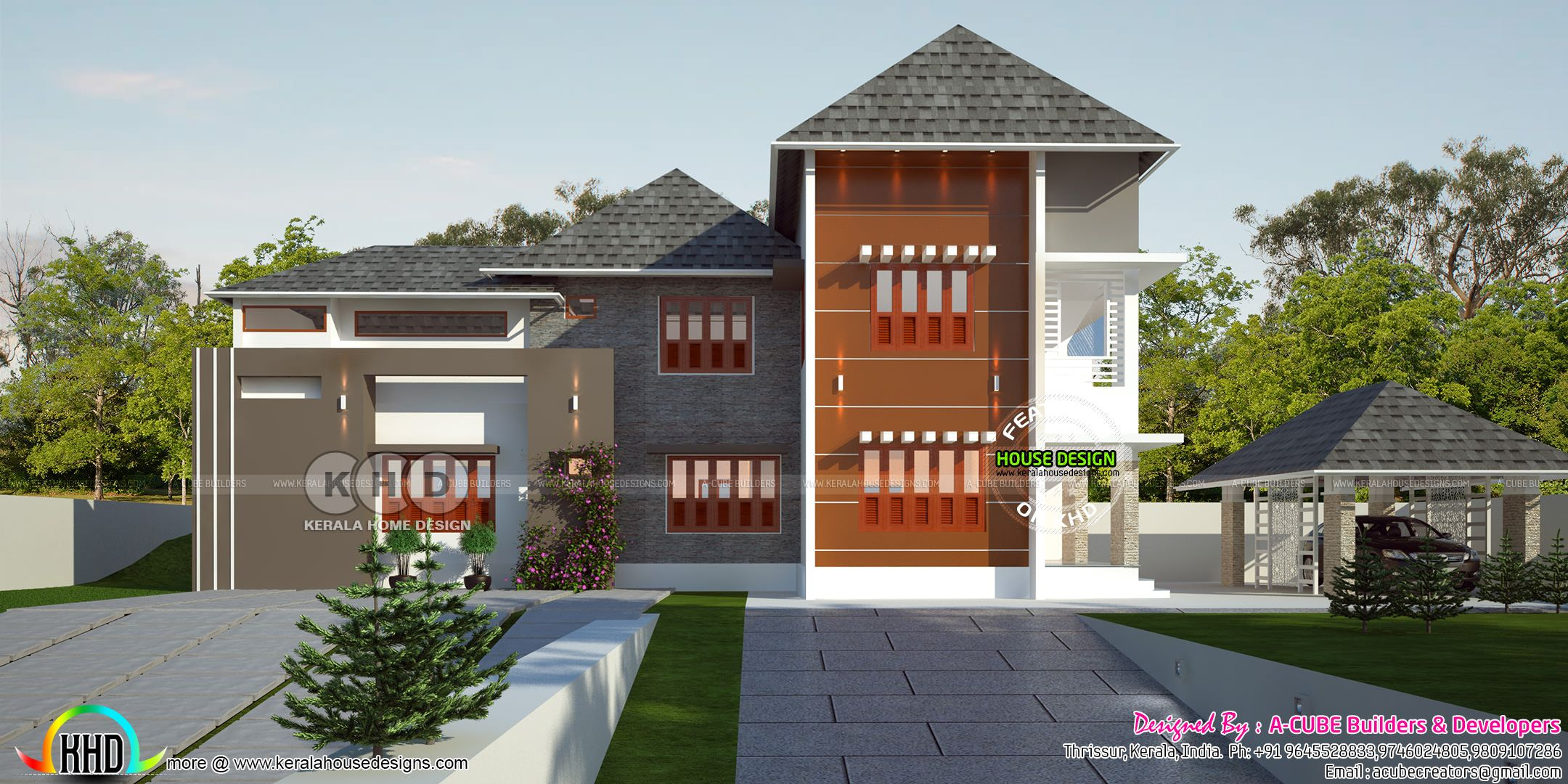4 Bedroom Sloping Roof Home With Separate Car Porch Kerala House