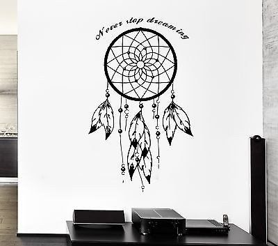 Wall Decal Dream Catcher Dreamcatcher Talisman Quote Never Stop Dreaming Unique Gift Z2783 Dream Catcher Native American Dream Catcher Wall Decals