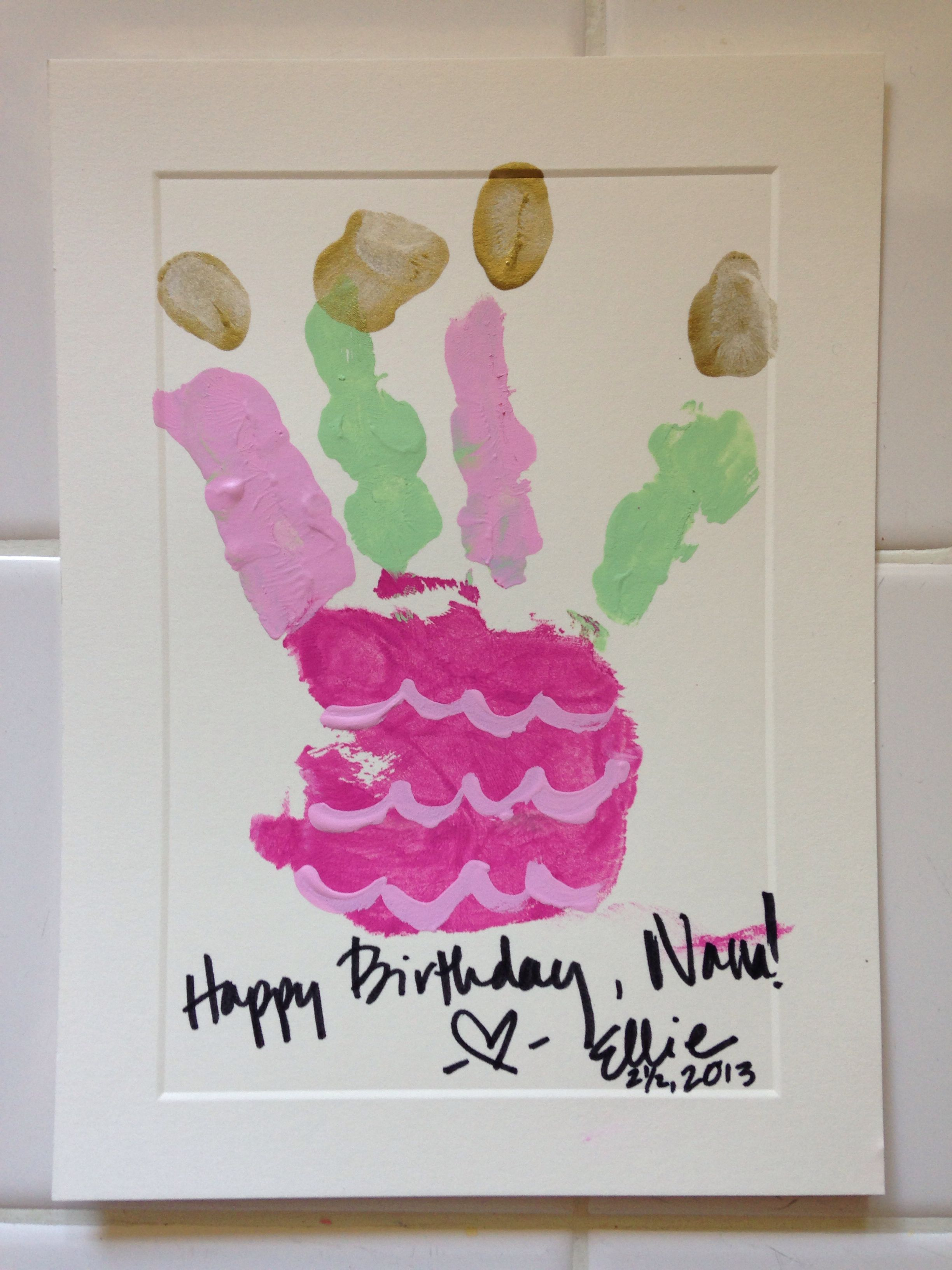 Handprint cake birthday card for the grandparents fun with kids