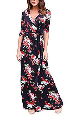 c80bfed9272a Floral Printed Retro Vintage Long Dress, YONYWA Women's 3/4 Sleeve Spring Flower  Casual Floor Length Maxi Dress