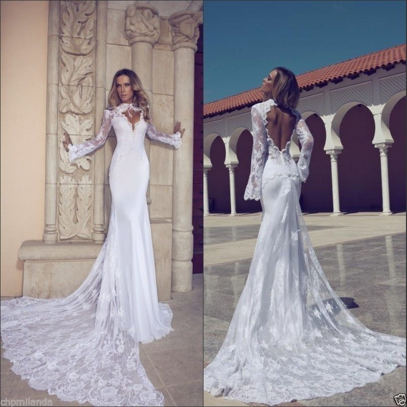 Long Sleeve Wedding Dress High Neck Lace Bridal Gowns 4 6 8 10 12 14 16 18 20+++