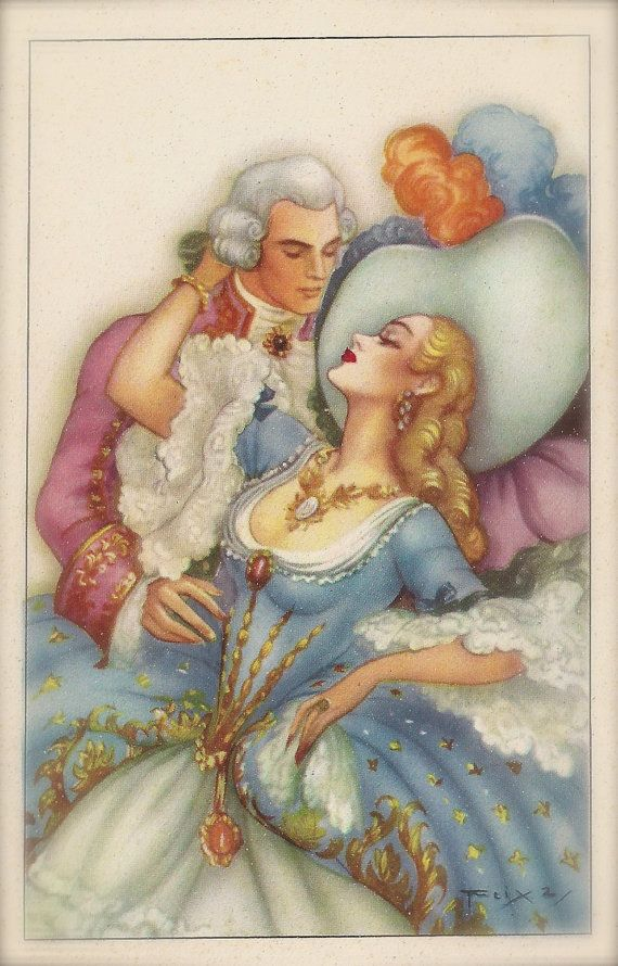 1950s Original Vintage Postcard Beautiful Romantic Glamour Baroque Rococo Couple of Lovers in Fancy Costumes Illustrated by Emilio Freixas