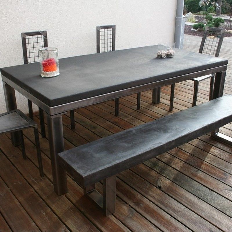 52 id es d co de table id es d co indus table beton table jardin metal et table salle manger - Table jardin beton ...