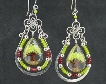 Ethnic Earrings 2.5 Long   Beaded Earrings  Tiger/'s Eye Stone Brown /& Black Beads Perfect Hang  Lightweight Artisan Earrings  @2