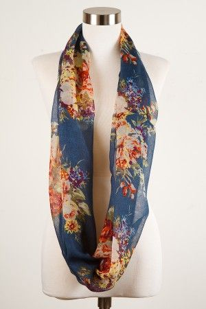 Floral Infinity or Loop Scarf - Teal with Summer Flowers - Capelli New York - Burlington Coat Factory - 8 Dollars
