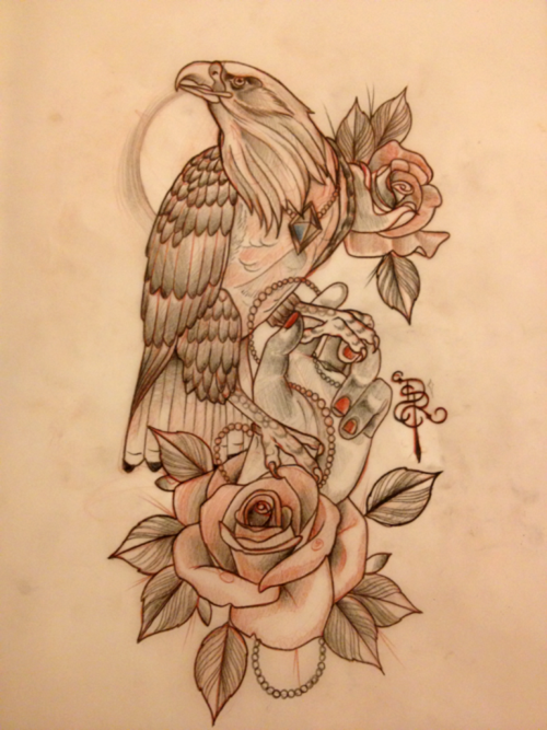 Calm New School Eagle With Rose And Girly Hand Tattoo Design