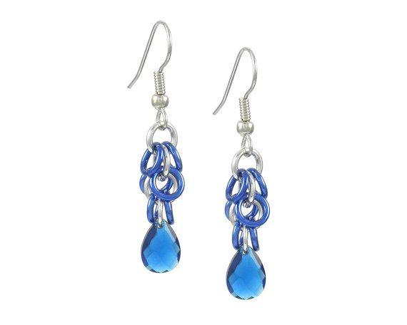 Blue Crystal Dangle Earrings by Jelene Britten Designs on Etsy