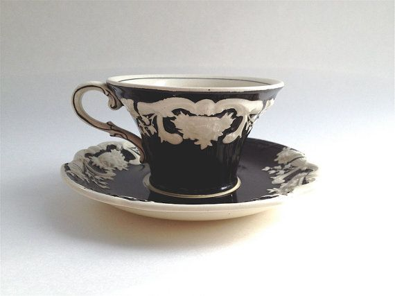 Marlborough And Sons George Jones And Sons Tea Cup Black And Etsy Tea Cups George Jones English Tea Cups
