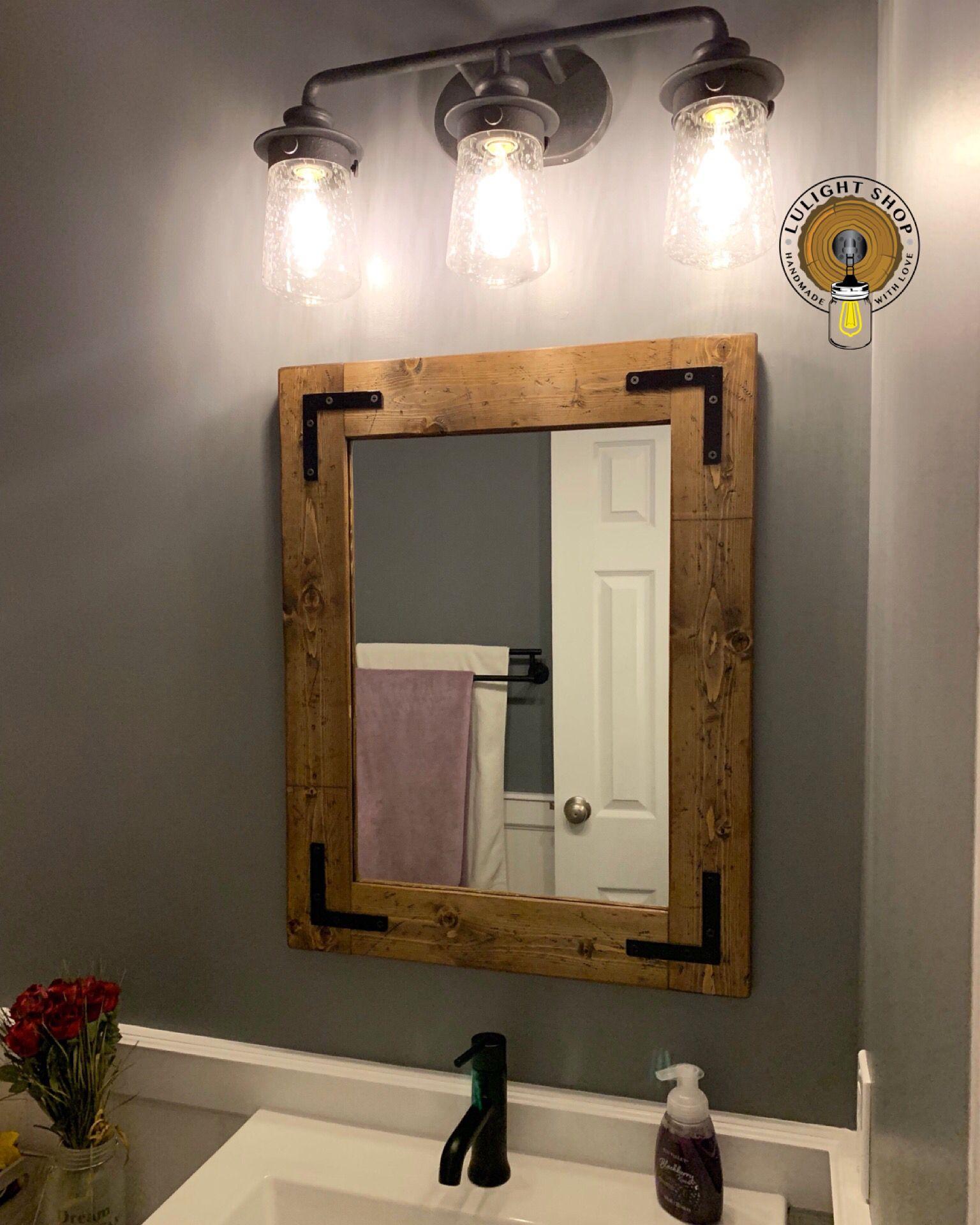 Handmade Farmhouse Rustic Lighting And Home Decor By Lulight Rustic Bathroom Light Fixtures Bathroom Mirror Bathroom Mirror Frame